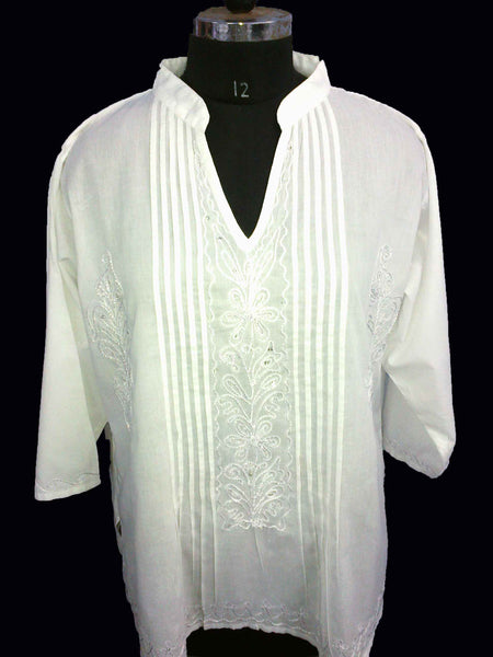 White Cotton Bandneck Top