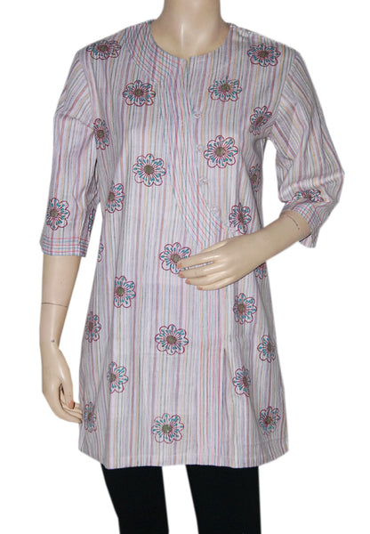 Light Grey Floral Khadi kurti