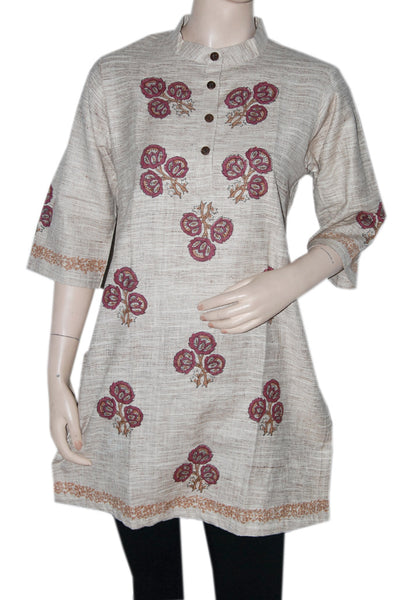 Light Brown Block Printed  Khadi Kurti