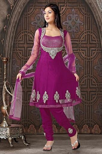 Silver Embroidered Rani Suit