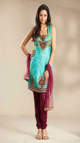 Sea Green Poly Silk Suit
