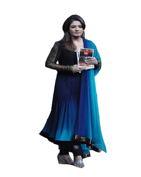 Raveena Deep Blue Ombre suit