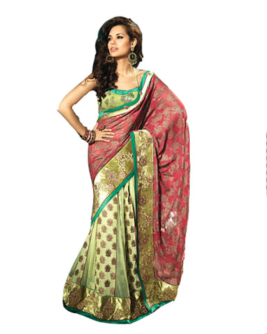 Brocade and  Net Pannel Saree