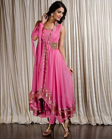 Pink Brooch Churidar Suit