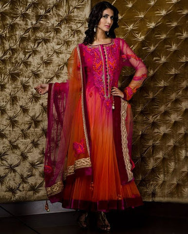Orange Ombre Dyed Bell  Suit