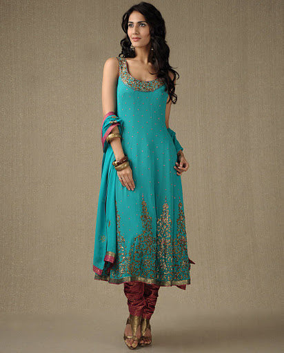 Teal Blue Churidar Suit