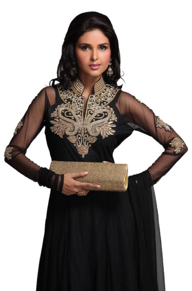 Black Chiffon Beaded Frock Suit