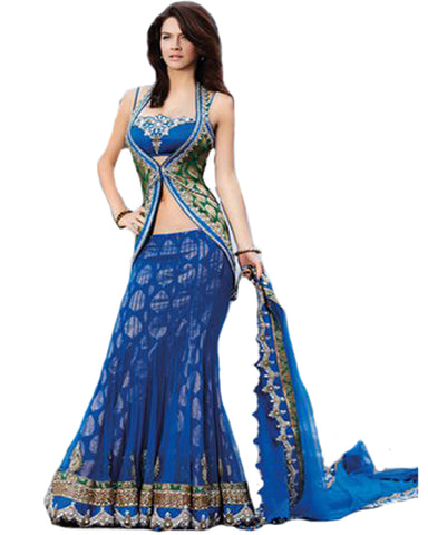 Blue Lehnga With Over Jacket