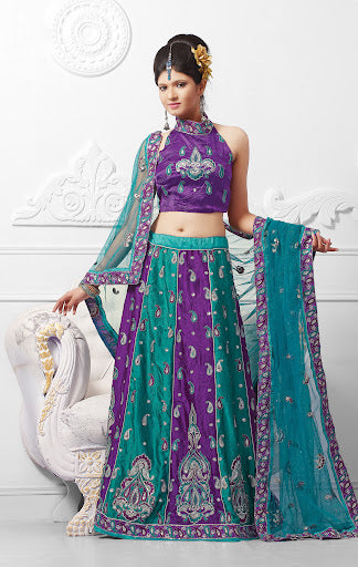 Teal Blue Violet Satin Lehnga