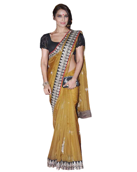 Bipasha Basu Mustard Chanderi Silk Bollywood Saree