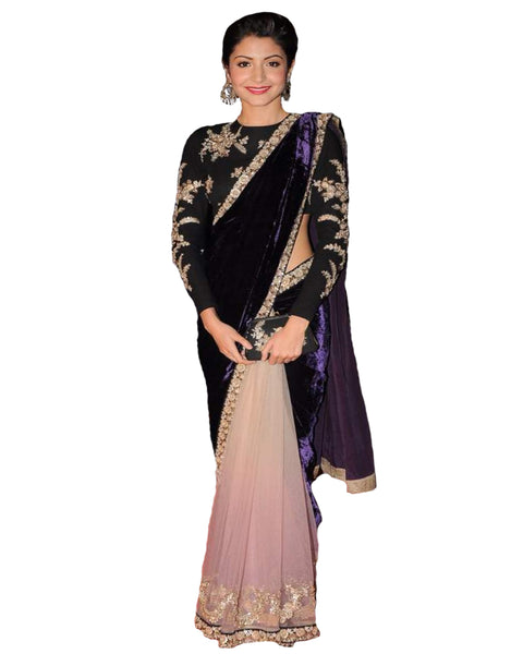 Anushka Sharma Pink And Purple Velvet Bollywood Saree