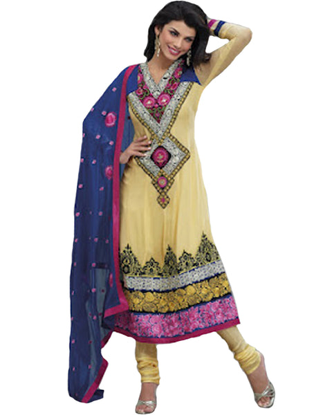 Multi Colored Embroidered Churidar Suit