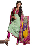 Deep Honey Dew And Deep Pink Brocade And Faux Georgette Suit
