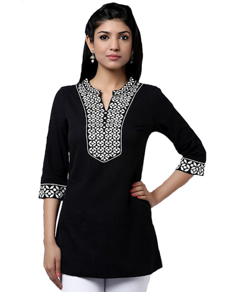 Black Elegant White Embroidered Kurti