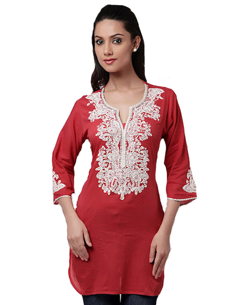 Red Cotton Voile Kurti With White embroidery