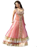 Double Flare Rose Pink Net Lehnga