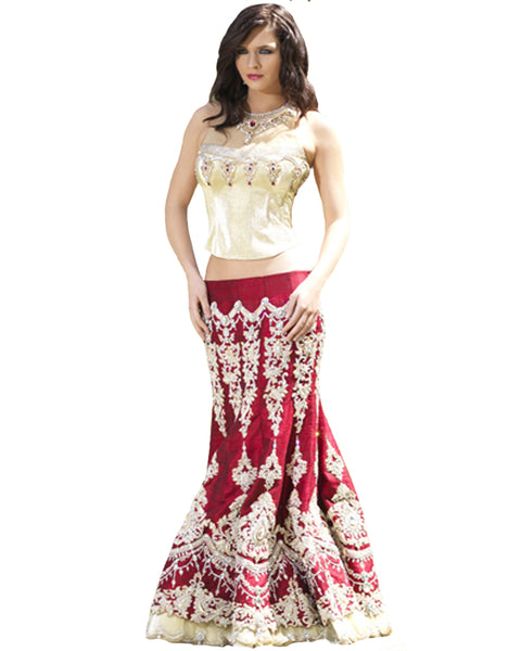 Red Fish Cut Embellished Dupion Lehnga