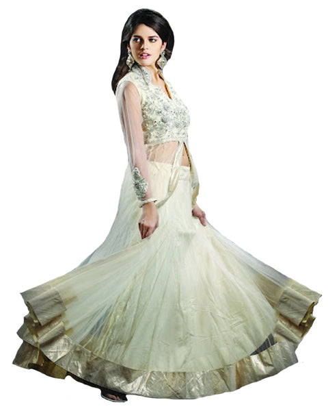 Beautiful Flared Cream With Embroidered Blouse