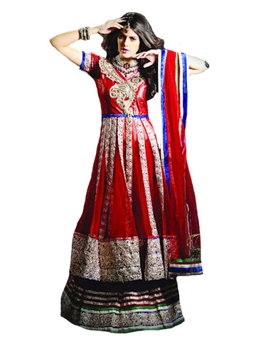 Gorgeous Red Embroidered Lacha