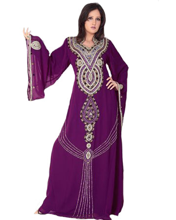 Dark Purpal Islamic Kaftan Dress