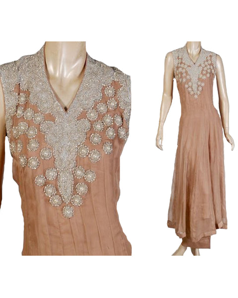 Light Chocolate Flat Chiffon Pearl Embroidered Anarkali Suit