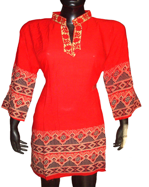 Red Border Printed Kurti
