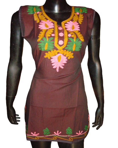 Multi Color Aari Work Maroon Chambray Kurti