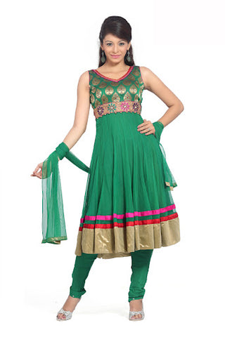 Attractive Emerald Green Salwar Kameez