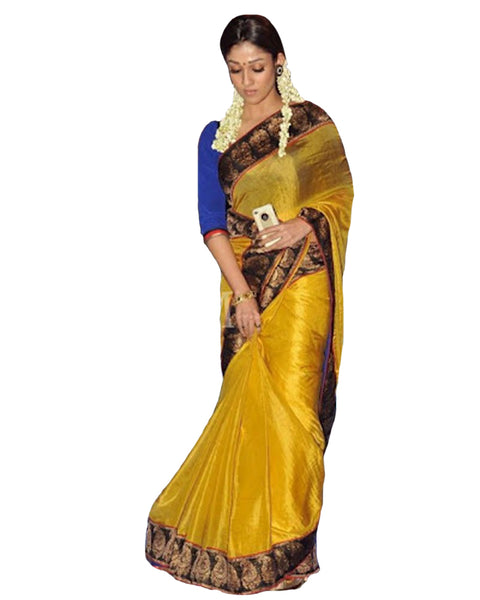 Nayantara Gold Color Contrast border Silk Saree