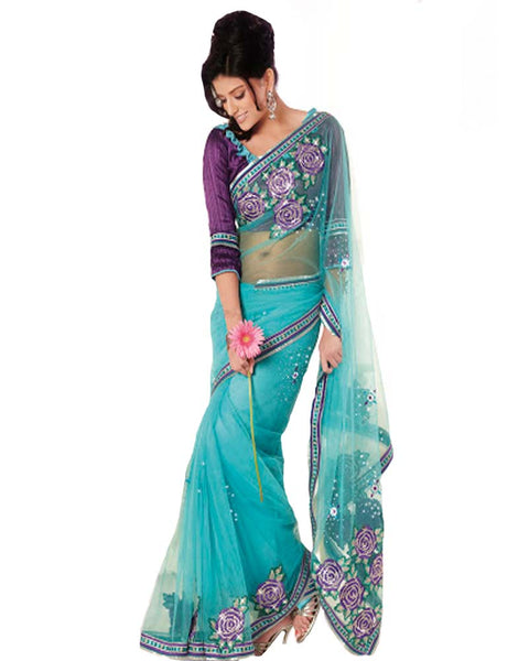 Plushy Teal Blue Embroidered Saree