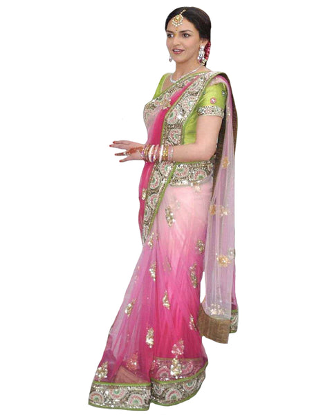 Isha Deol Engagement Fascinating Deep Pink Embroidered Saree