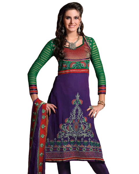 Luscious Aloe Vera Green & Deep Purple Salwar Kameez