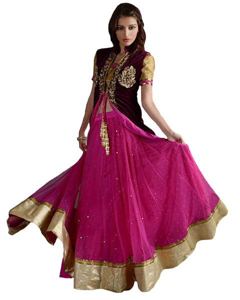 Pink Sparkling Lehnga With Maroon Jacket