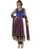 Dusky Purple Blue Ombre Dyed Anarkali Suit