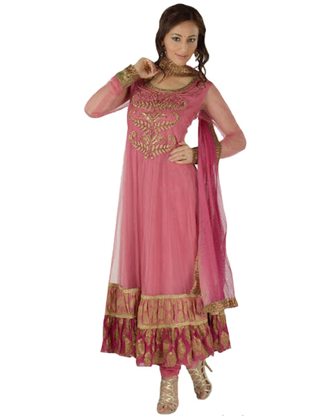 Golden Leaf Embroidered Pink Net Anarkali