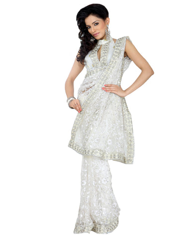 Snow White Embroidered Net Saree
