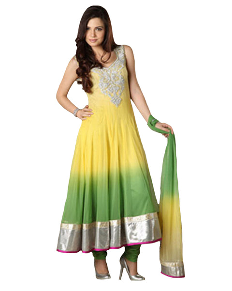 Stunning Yellow Green Ombre Dyed Anarkali Suit