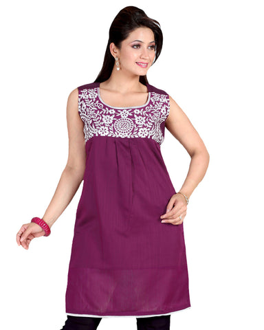 Dusky Rose Pink Embroidered Kurti