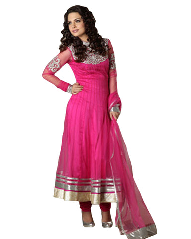 Bright Pink Fuchsia Net Anarkali Suit