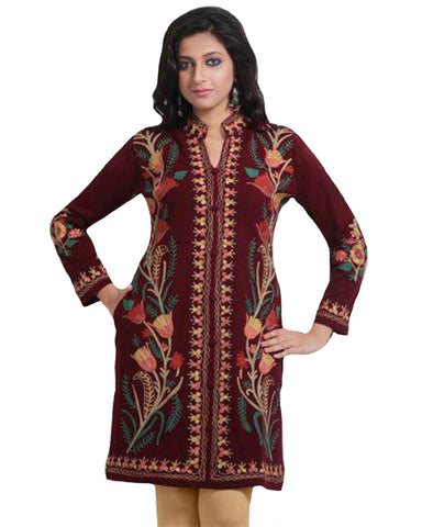 Maroon All Over Embroidered Woolen Kurti