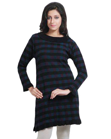 Black Check Pattern Woolen Kurti