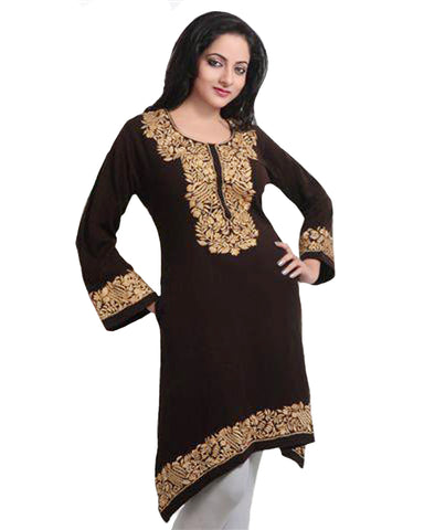 Brown Embroidered Woolen Kurti