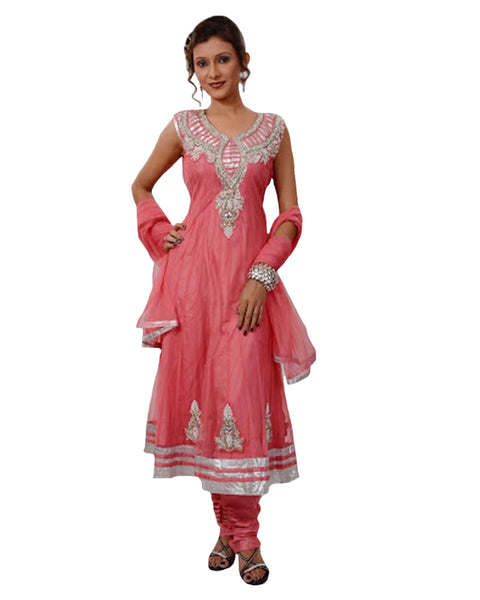 Ravishing Peach Net Anarkali Suit