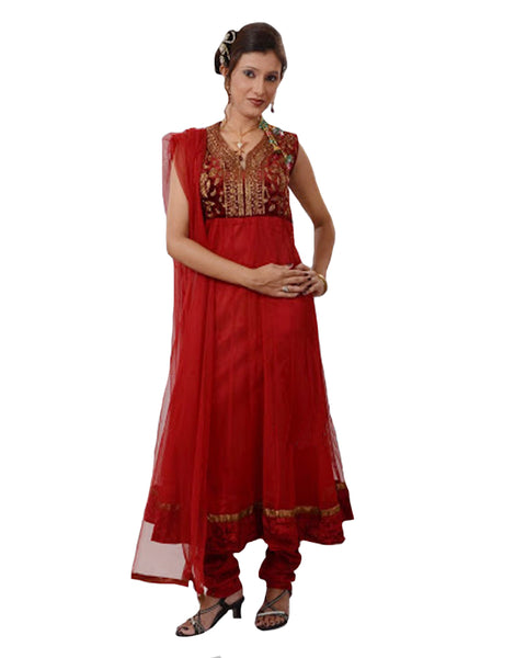 Elegant Red Embroidered Yoke Net Anarkali