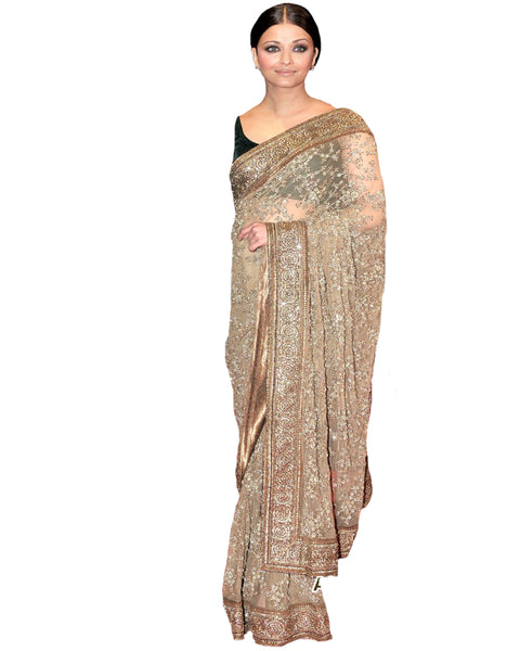 Melodic Beige Brown Embroidered Saree