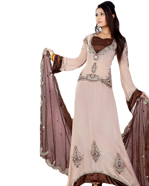 Pink And Brown Long Anarkali Suit