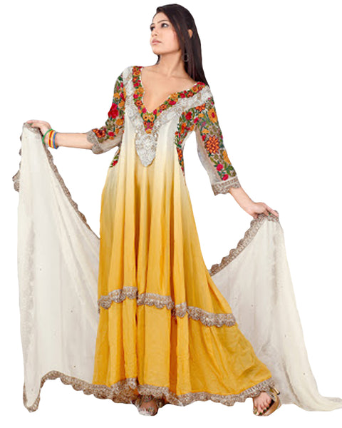 Yellow Offwhite Double Layer Anarkali Suit