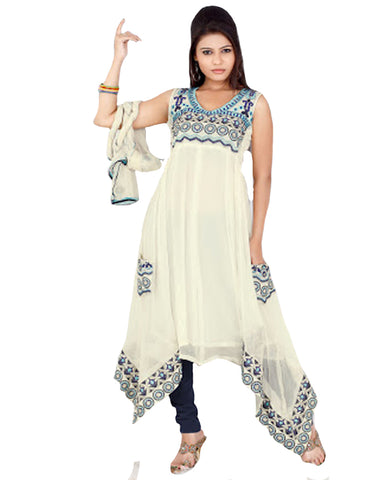 White C Flare Style Embroidered Fancy Suit