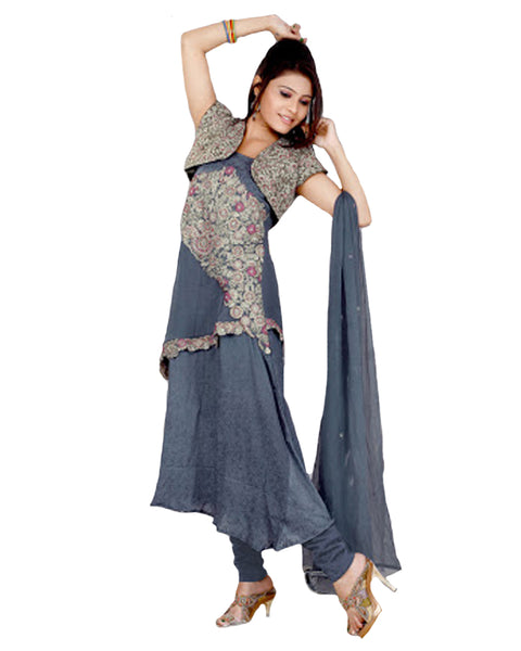 Steel Grey Asymetric Layered Salwar Kameez