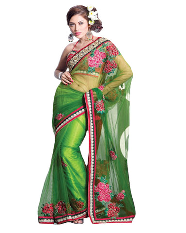 Splendorous Aloe Vera Green Embroidered Saree